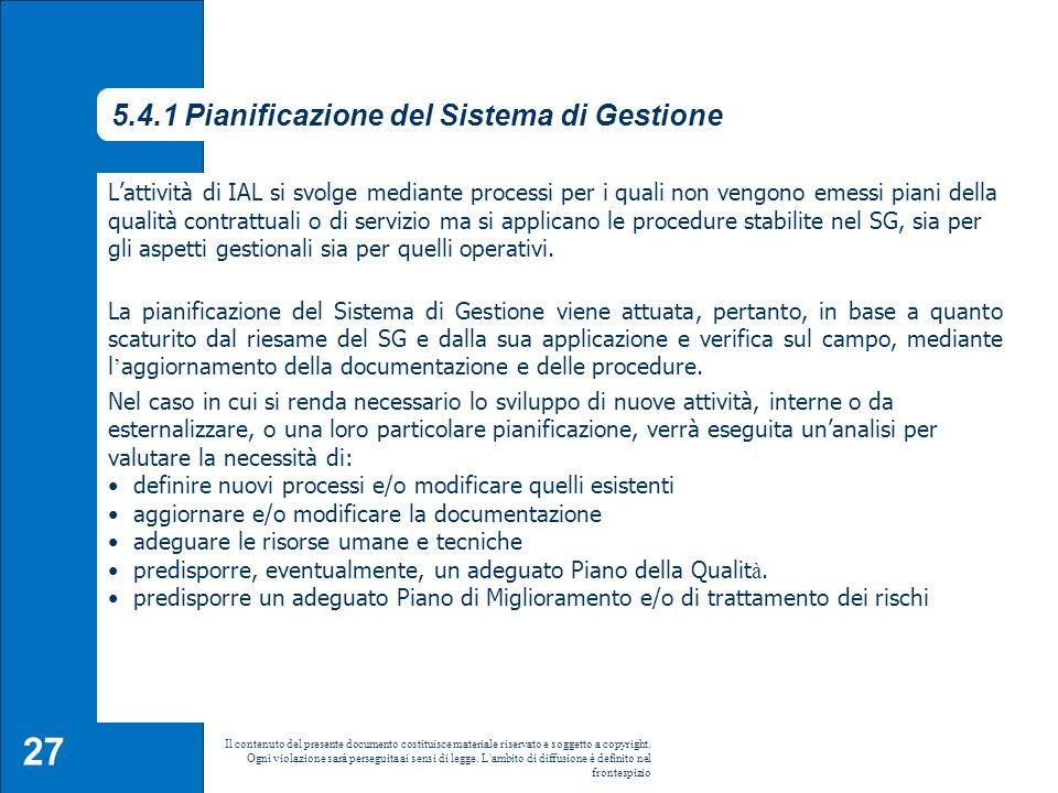 5.4.1 Pianificazione del Sistema di Gestione