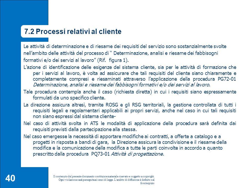7.2 Processi relativi al cliente