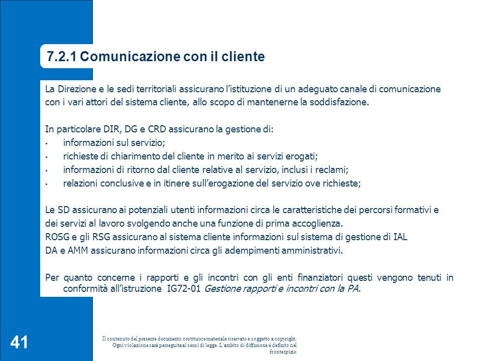 7.2.1 Comunicazione con il cliente