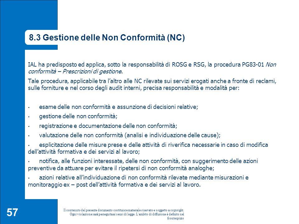 8.3 Gestione delle Non Conformità (NC)