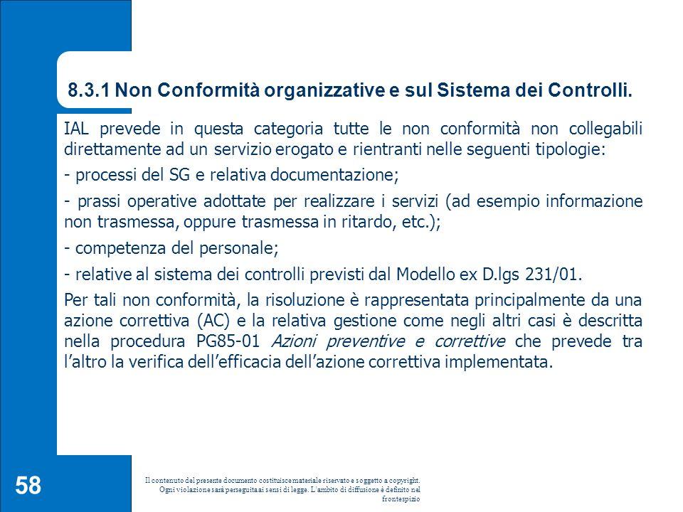 8.3.1 Non Conformità organizzative e sul Sistema dei Controlli.