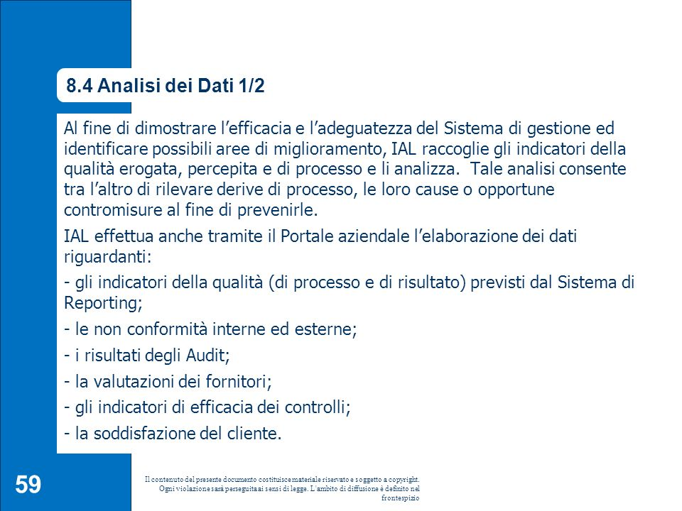8.4 Analisi dei Dati 1/2 8.4 Analisi dei dati