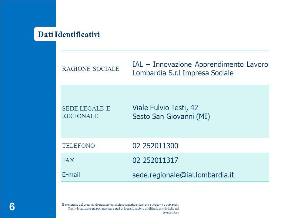 Dati Identificativi RAGIONE SOCIALE. IAL – Innovazione Apprendimento Lavoro Lombardia S.r.l Impresa Sociale.