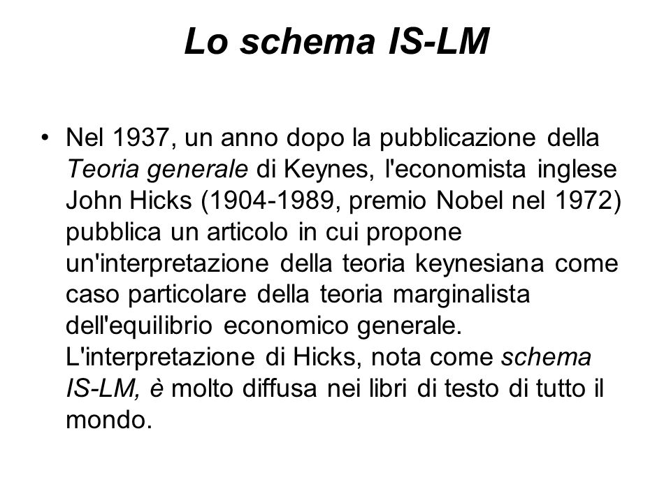 Lo schema IS-LM