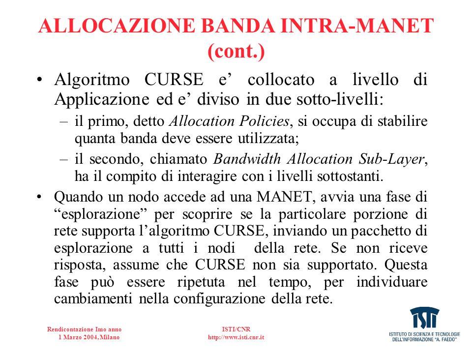 ALLOCAZIONE BANDA INTRA-MANET (cont.)