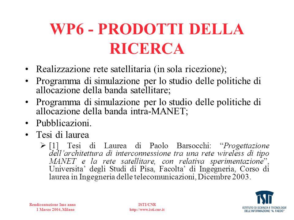 WP6 - PRODOTTI DELLA RICERCA
