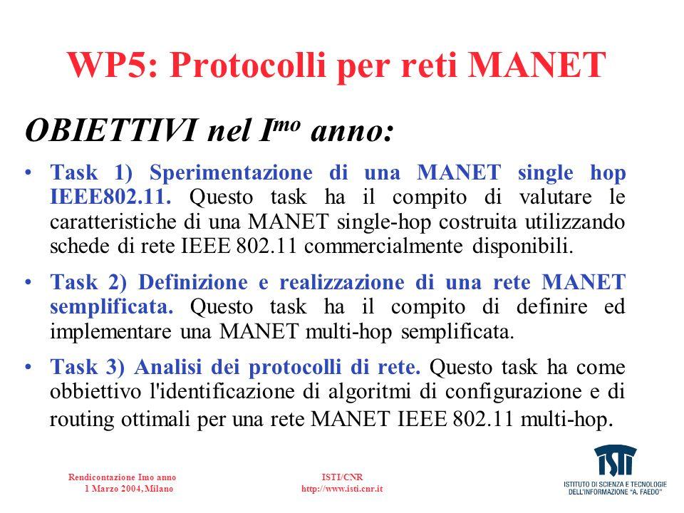 WP5: Protocolli per reti MANET