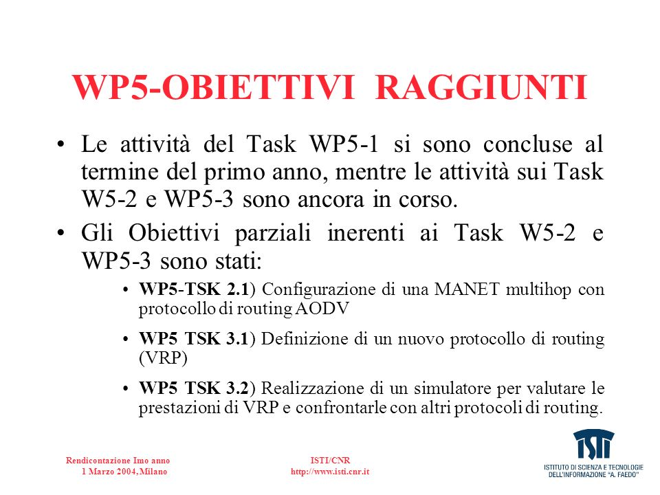 WP5-OBIETTIVI RAGGIUNTI