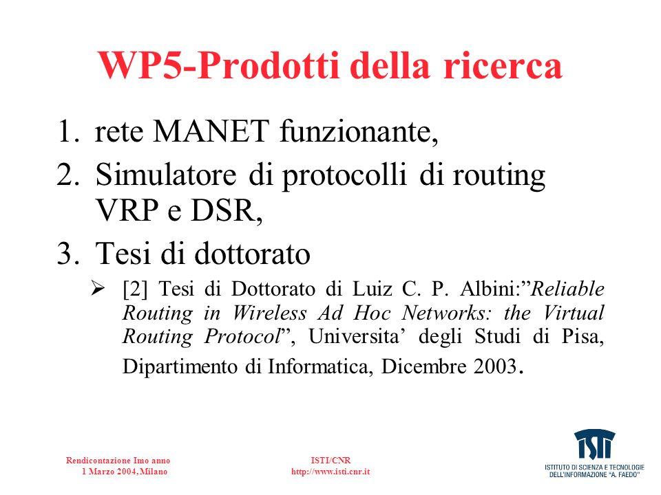 WP5-Prodotti della ricerca