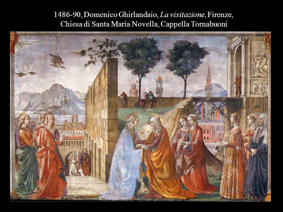 1486-90, Domenico Ghirlandaio, La visitazione, Firenze, Chiesa di Santa Maria Novella, Cappella Tornabuoni