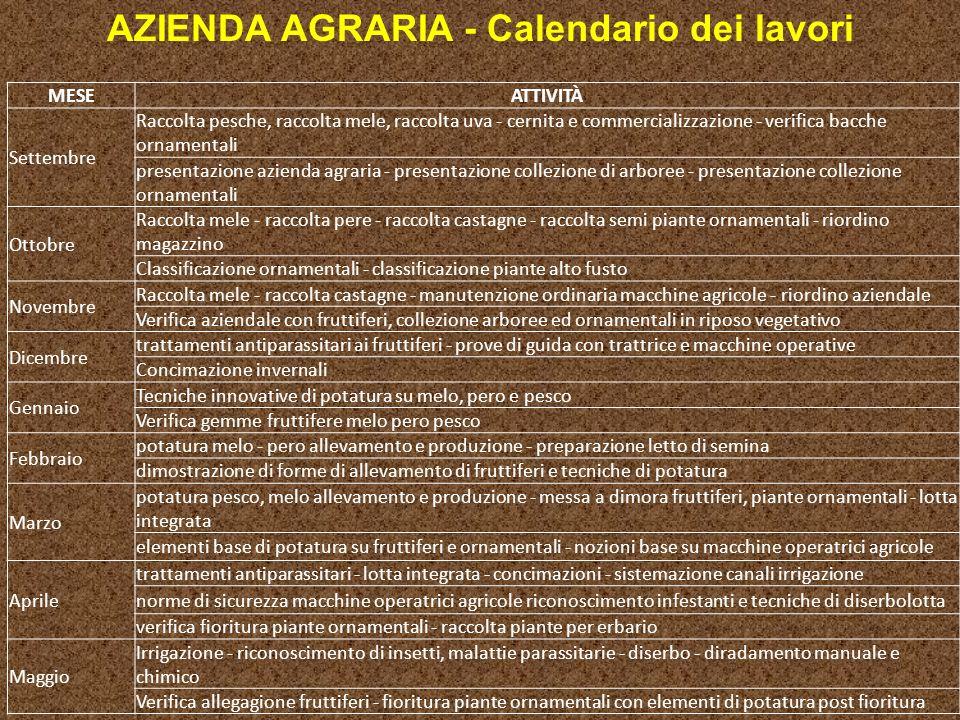 AZIENDA AGRARIA - Calendario dei lavori