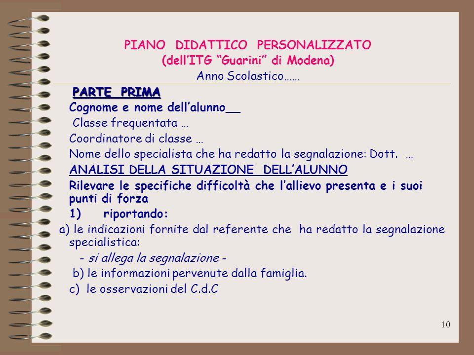 PIANO DIDATTICO PERSONALIZZATO (dell'ITG Guarini di Modena)