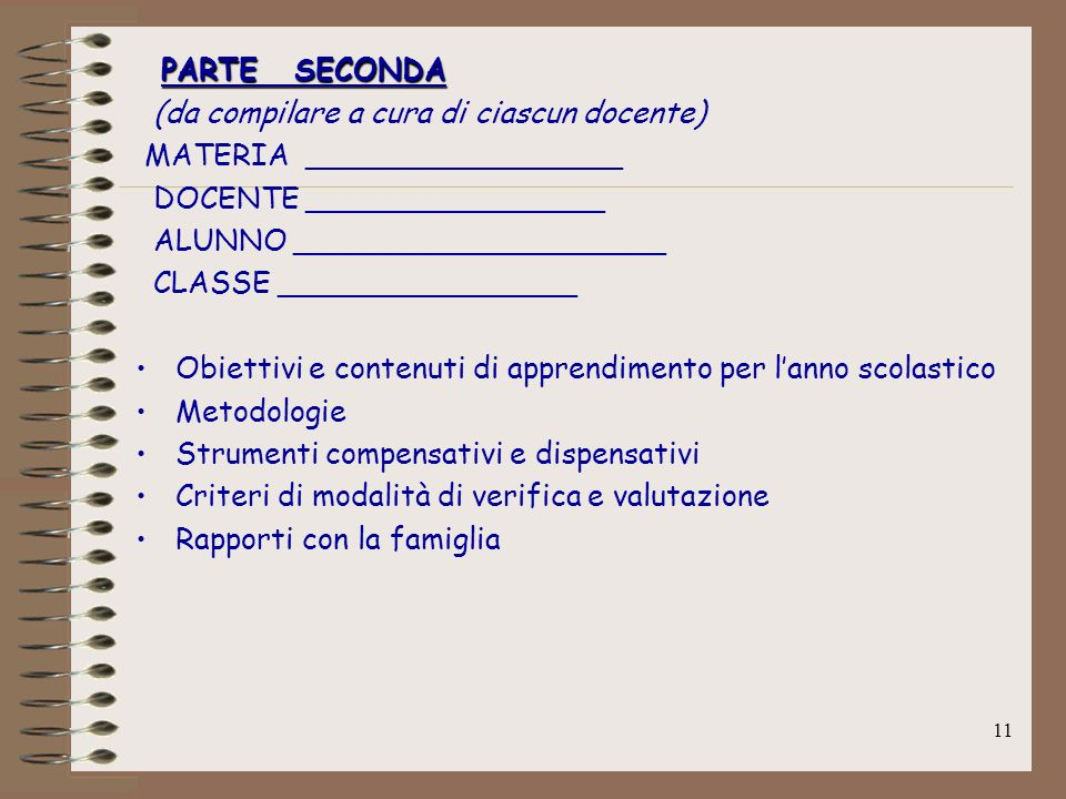 PARTE SECONDA(da compilare a cura di ciascun docente) MATERIA _________________. DOCENTE ________________.