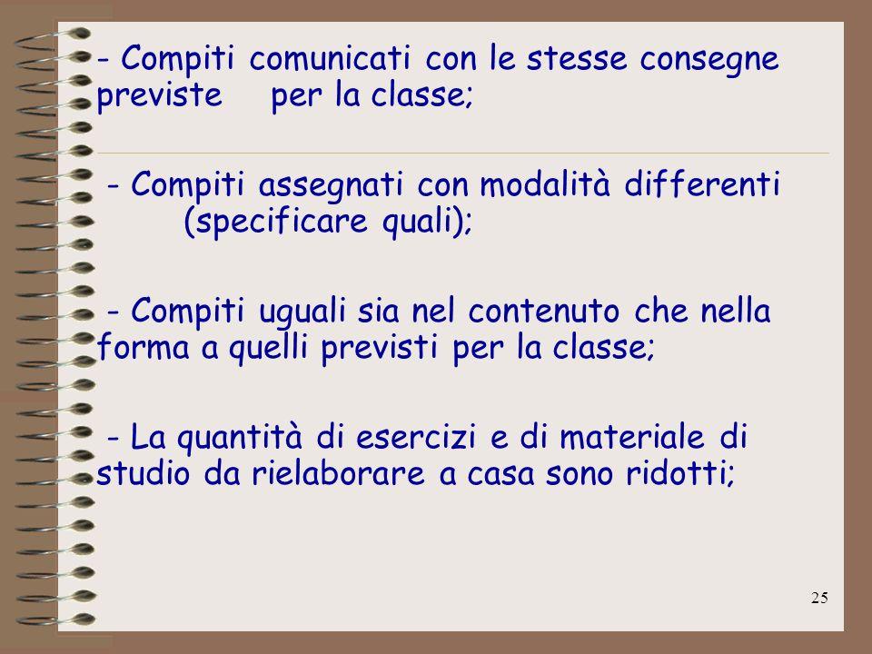 - Compiti comunicati con le stesse consegne previste per la classe;