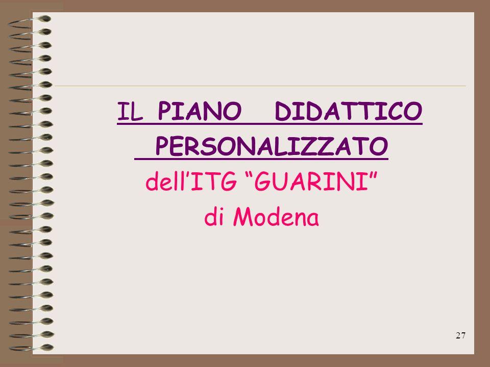 IL PIANO DIDATTICO PERSONALIZZATO dell'ITG GUARINI di Modena