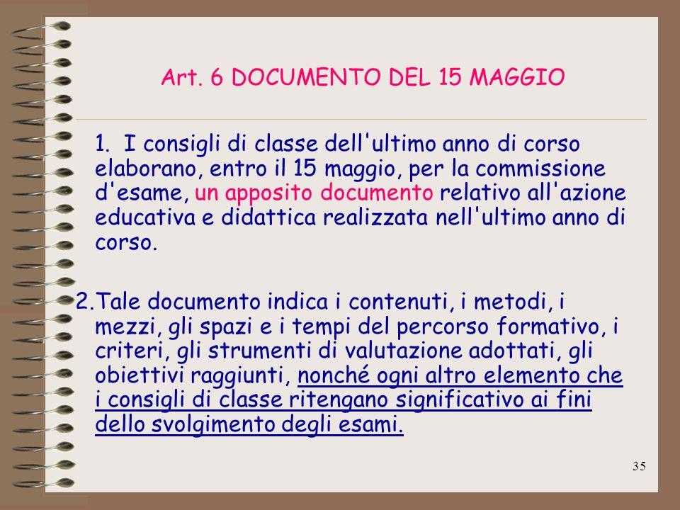 Art. 6 DOCUMENTO DEL 15 MAGGIO