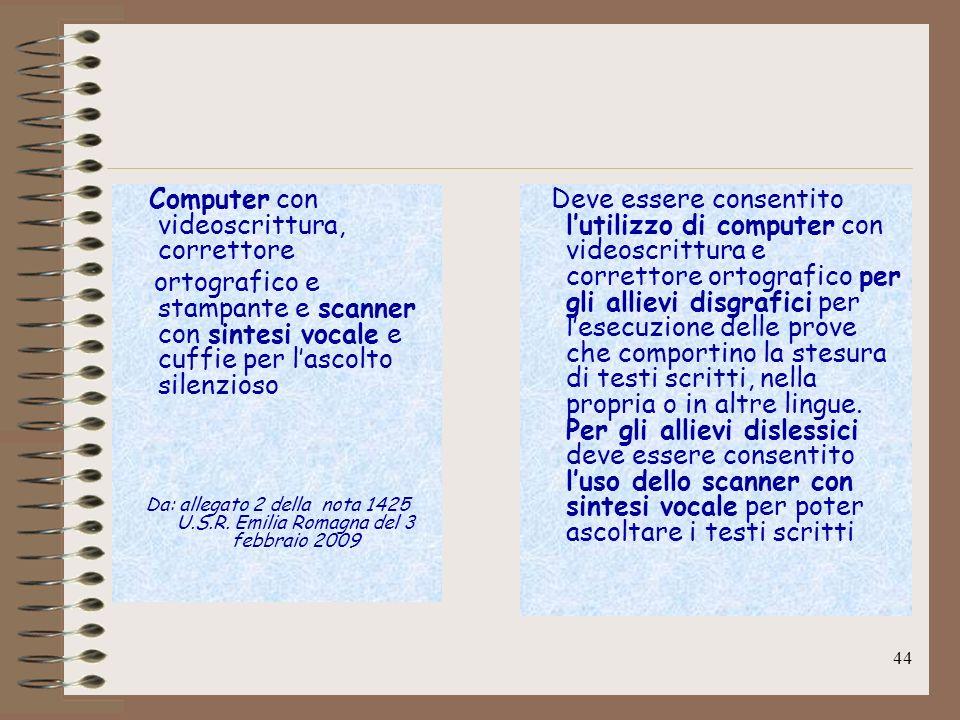 Computer con videoscrittura, correttore