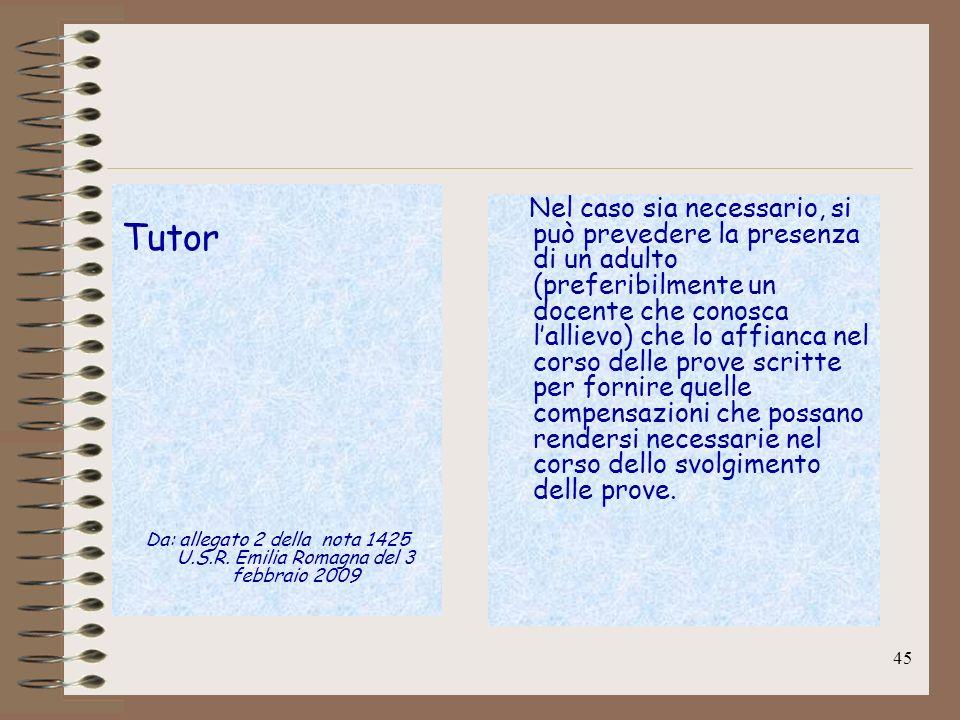Tutor Da: allegato 2 della nota 1425 U.S.R. Emilia Romagna del 3 febbraio 2009.