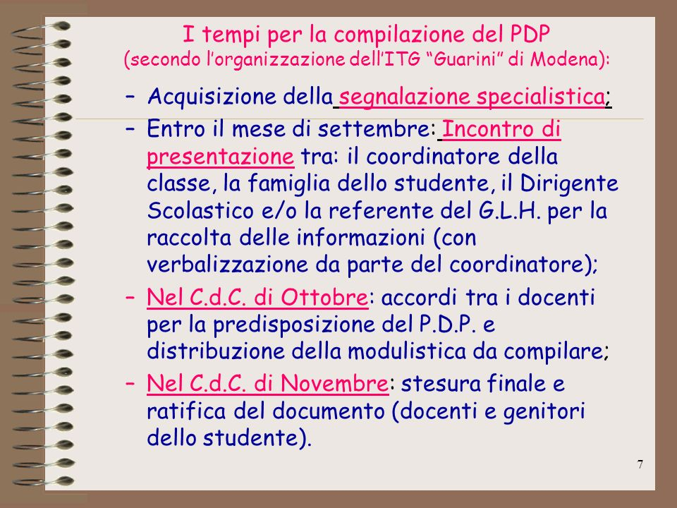 I tempi per la compilazione del PDP (secondo l'organizzazione dell'ITG Guarini di Modena):