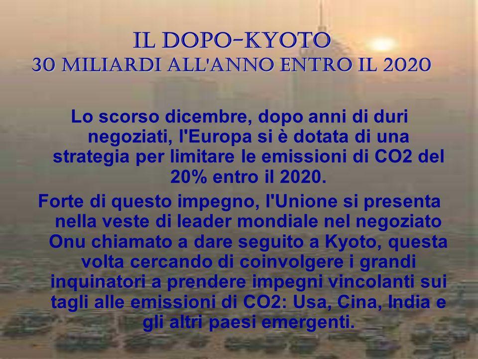 Il dopo-Kyoto 30 miliardi all anno entro il 2020
