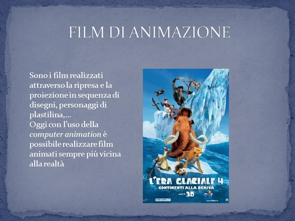 FILM DI ANIMAZIONE Sono i film realizzati attraverso la ripresa e la proiezione in sequenza di disegni, personaggi di plastilina,…