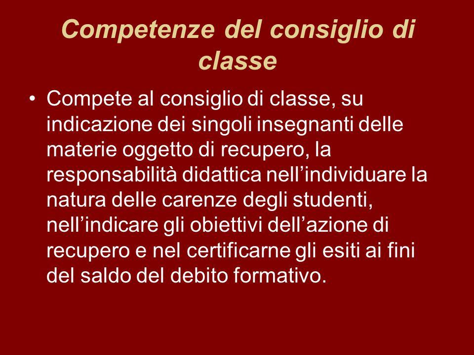 Competenze del consiglio di classe