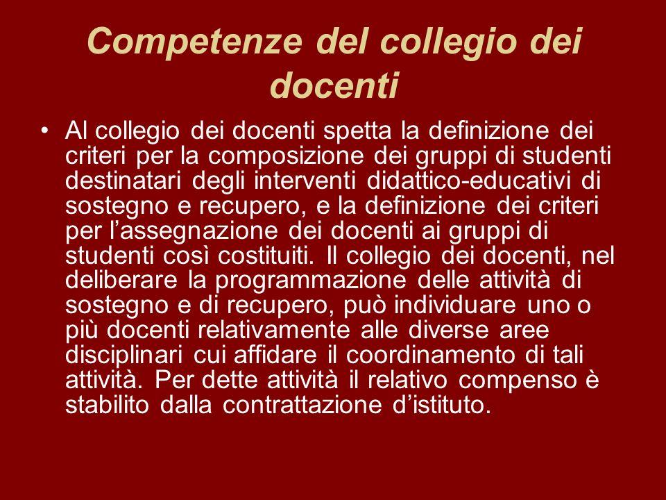 Competenze del collegio dei docenti