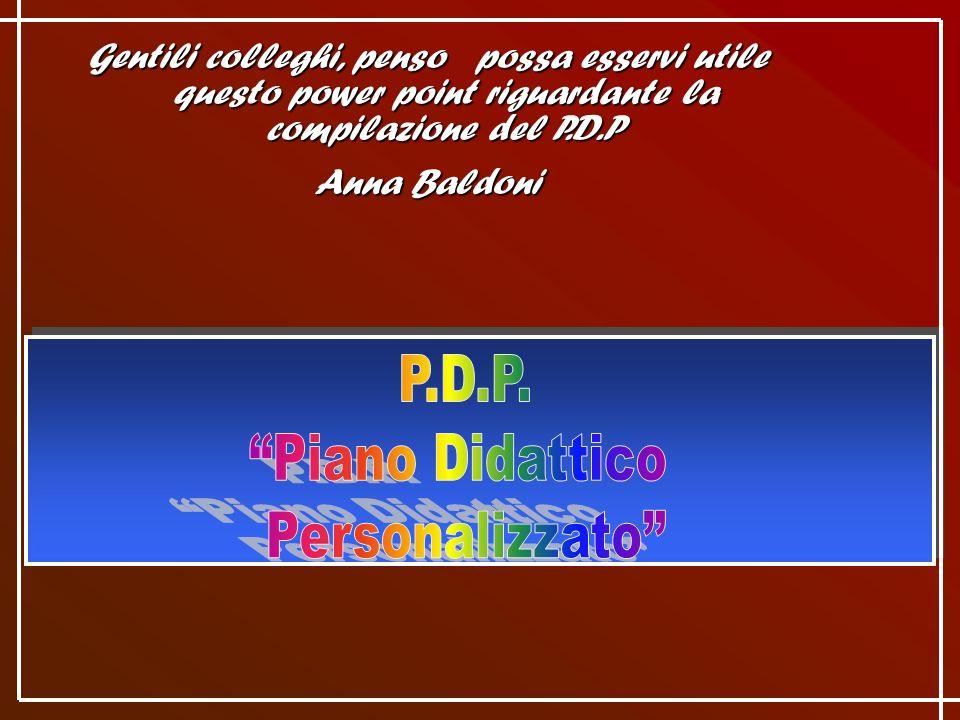 P.D.P. Piano Didattico Personalizzato