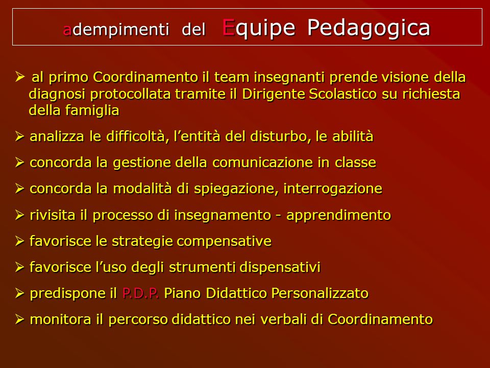 adempimenti del Equipe Pedagogica