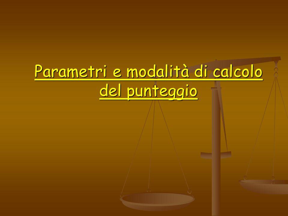 Parametri e modalità di calcolo del punteggio