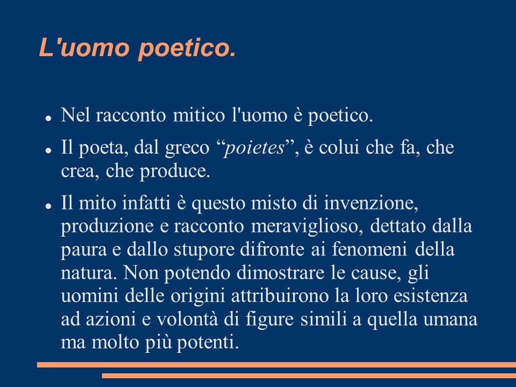 L uomo poetico. Nel racconto mitico l uomo è poetico.