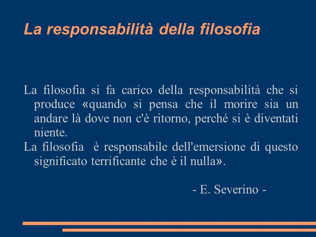La responsabilità della filosofia
