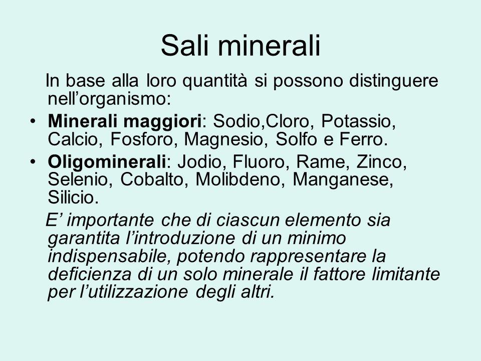 Sali minerali In base alla loro quantità si possono distinguere nell'organismo:
