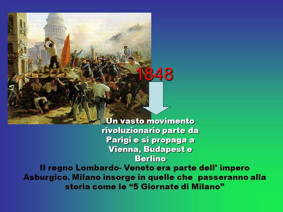 1848 Un vasto movimento rivoluzionario parte da Parigi e si propaga a Vienna, Budapest e Berlino.