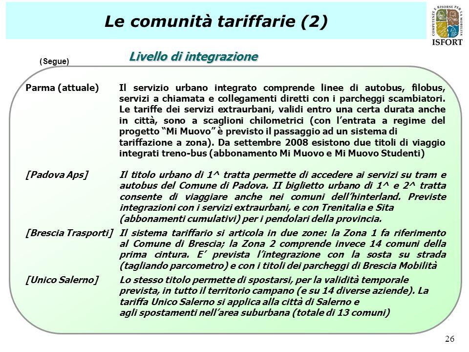 Le comunità tariffarie (2)