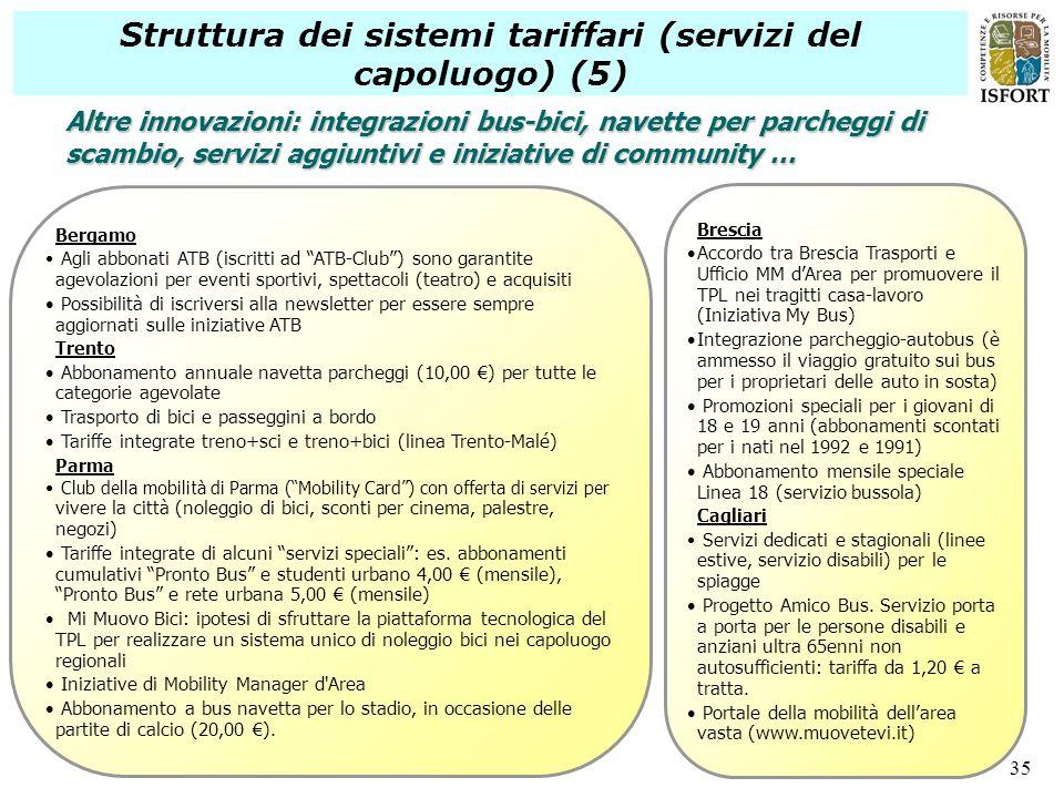 Struttura dei sistemi tariffari (servizi del capoluogo) (5)