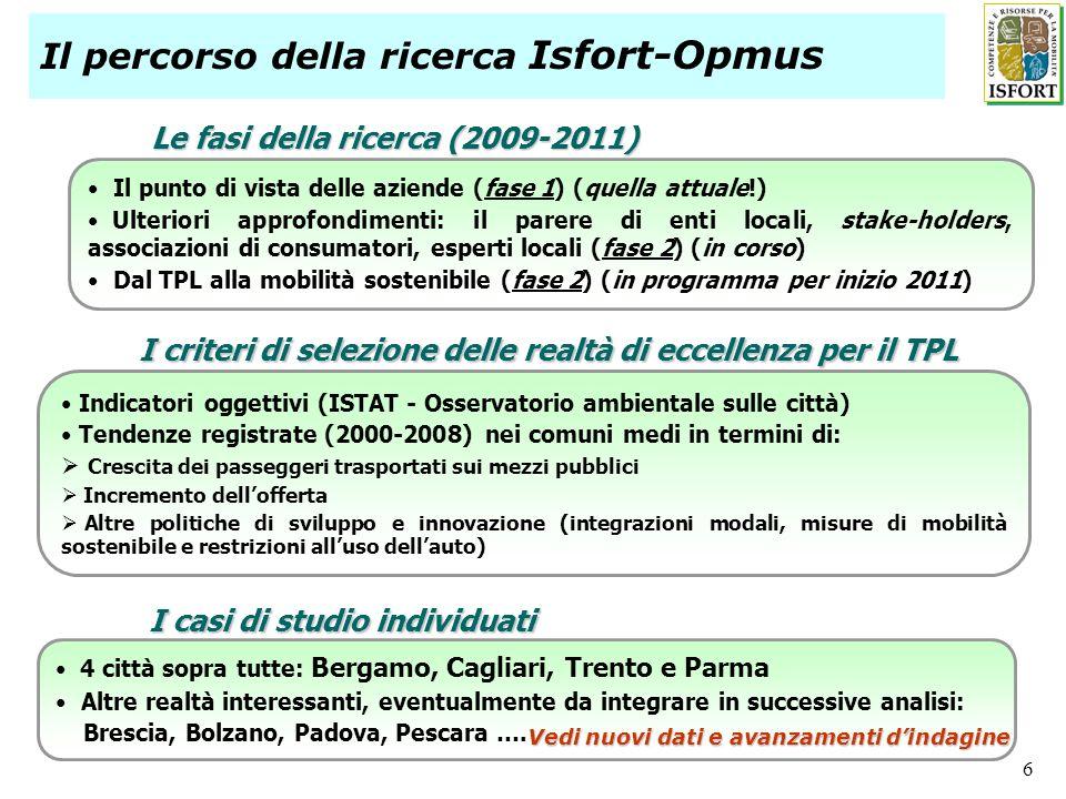 Il percorso della ricerca Isfort-Opmus