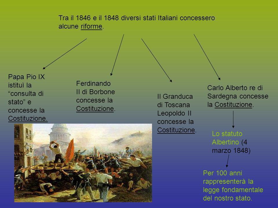 Tra il 1846 e il 1848 diversi stati Italiani concessero alcune riforme.