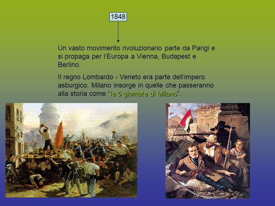 1848 1848. Un vasto movimento rivoluzionario parte da Parigi e si propaga per l'Europa a Vienna, Budapest e Berlino.