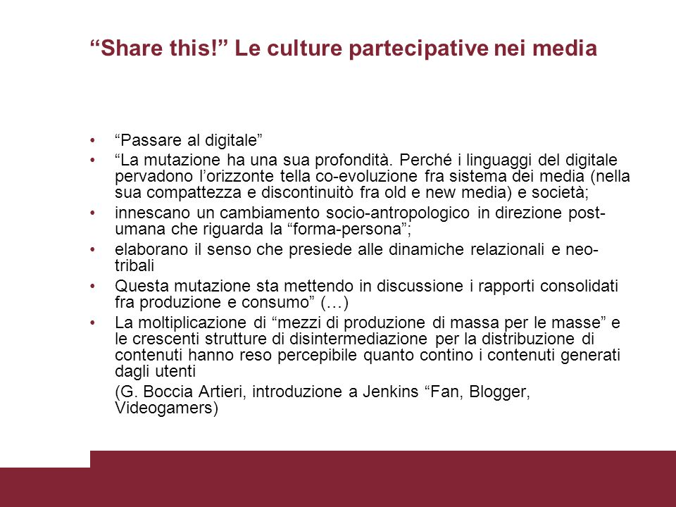 Share this! Le culture partecipative nei media