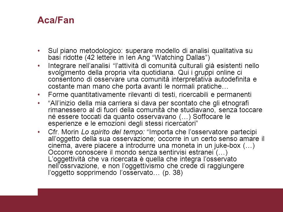 Aca/Fan Sul piano metodologico: superare modello di analisi qualitativa su basi ridotte (42 lettere in Ien Ang Watching Dallas )