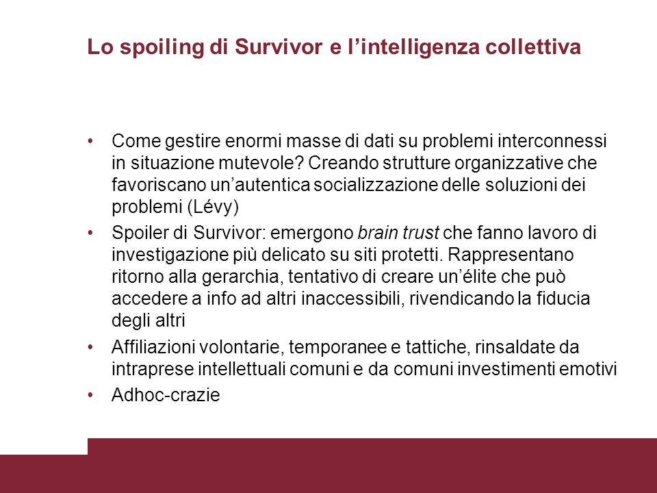 Lo spoiling di Survivor e l'intelligenza collettiva