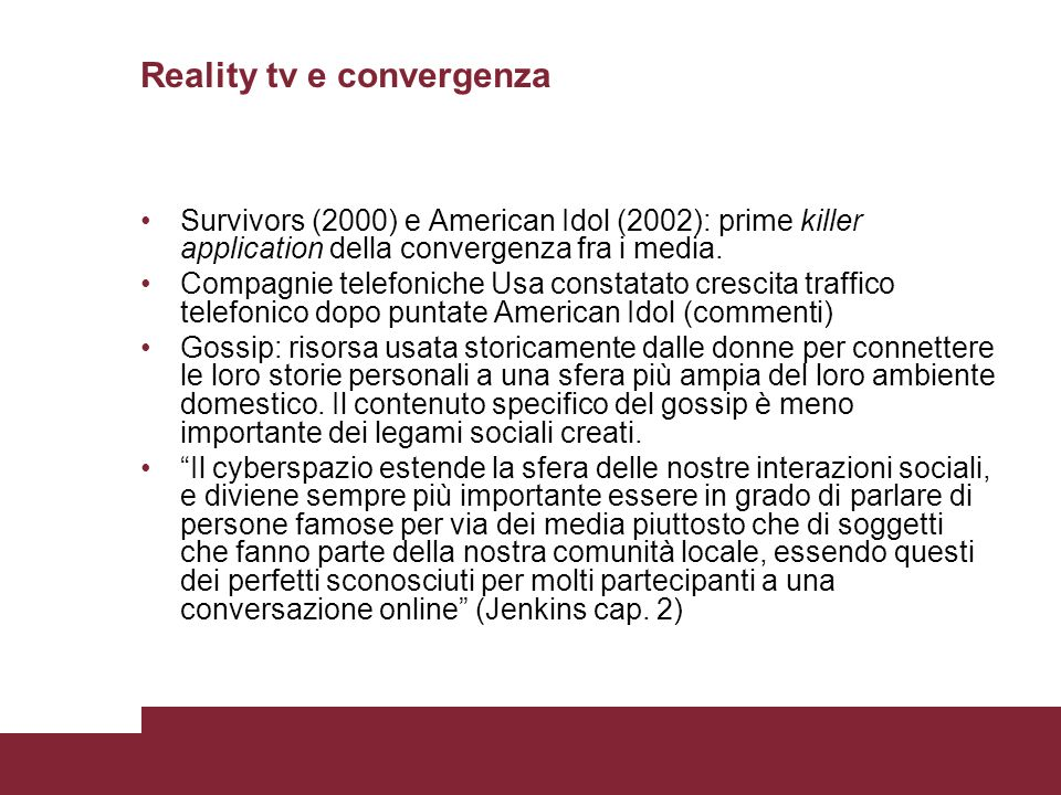 Reality tv e convergenza