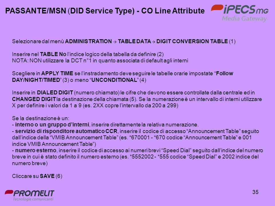 PASSANTE/MSN (DID Service Type) - CO Line Attribute