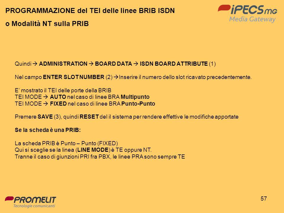 PROGRAMMAZIONE del TEI delle linee BRIB ISDN o Modalità NT sulla PRIB
