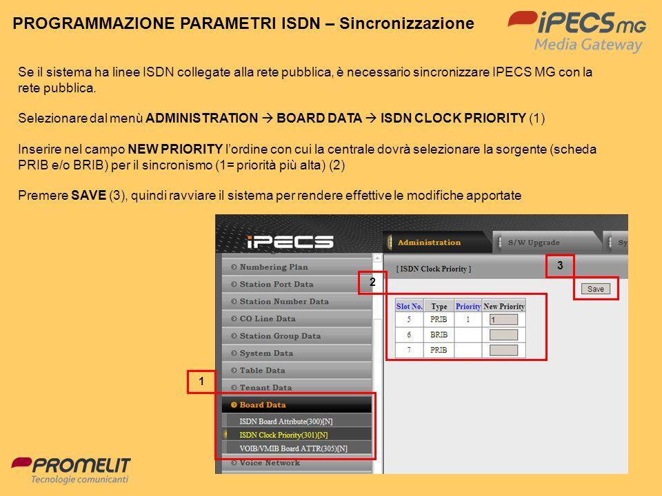 PROGRAMMAZIONE PARAMETRI ISDN – Sincronizzazione