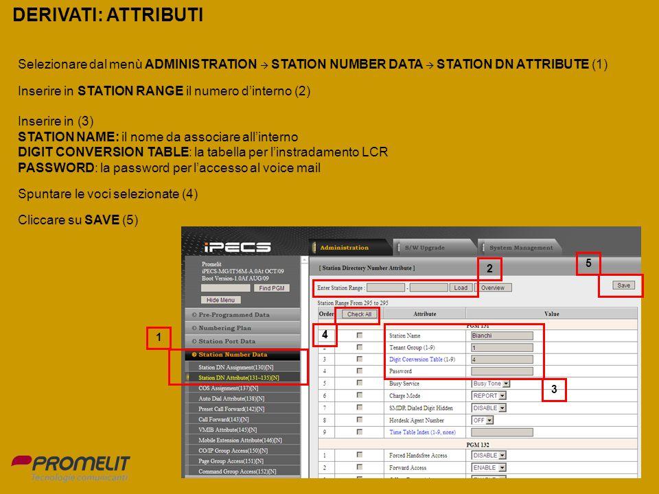 DERIVATI: ATTRIBUTI Selezionare dal menù ADMINISTRATION  STATION NUMBER DATA  STATION DN ATTRIBUTE (1)