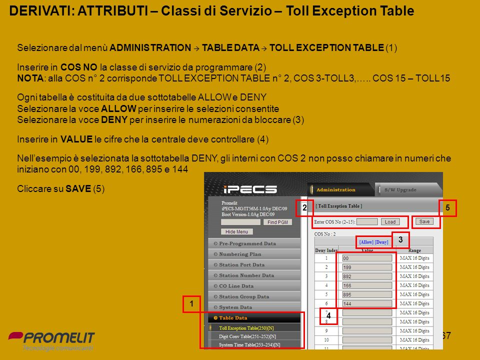 DERIVATI: ATTRIBUTI – Classi di Servizio – Toll Exception Table