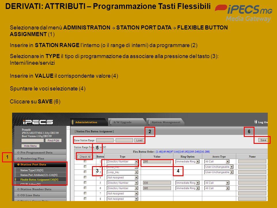 DERIVATI: ATTRIBUTI – Programmazione Tasti Flessibili