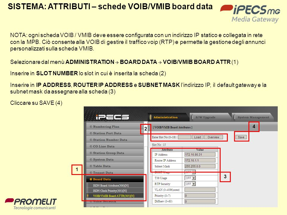 SISTEMA: ATTRIBUTI – schede VOIB/VMIB board data